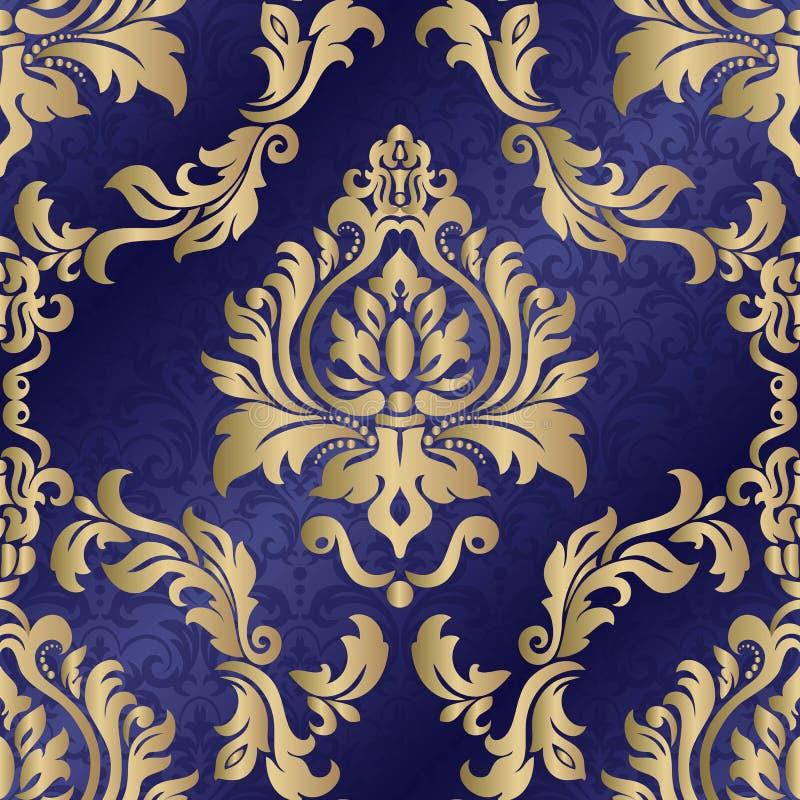 Het naadloze Behang van het Damast Oosters vectorpatroon met arabesques en bloemenelementen Islam, Turks, Arabische Indi?r, stock illustratie
