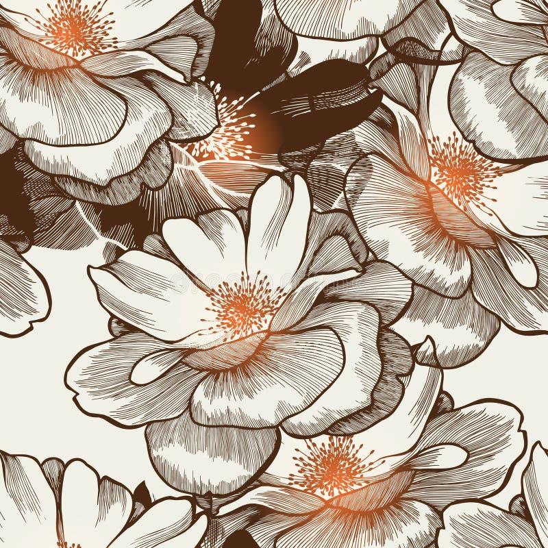Het naadloze behang van de aantrekkingskracht met bloeiende rozen. vector illustratie