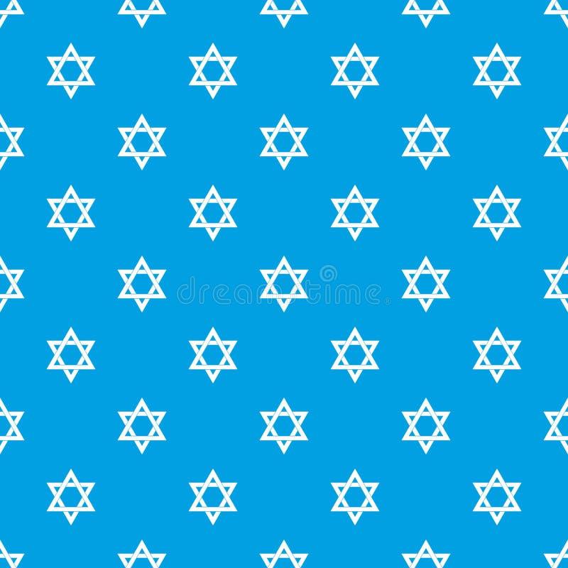 Het naadloze blauw van het jodensterpatroon stock illustratie