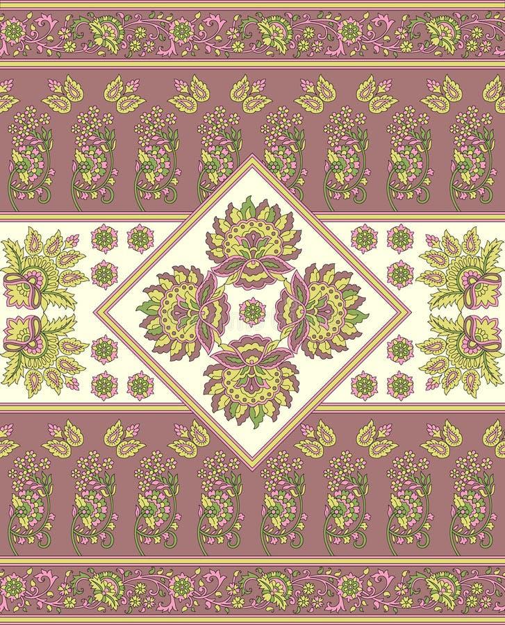 Het naadloze bloemen geometrische patroon van het grensontwerp vector illustratie
