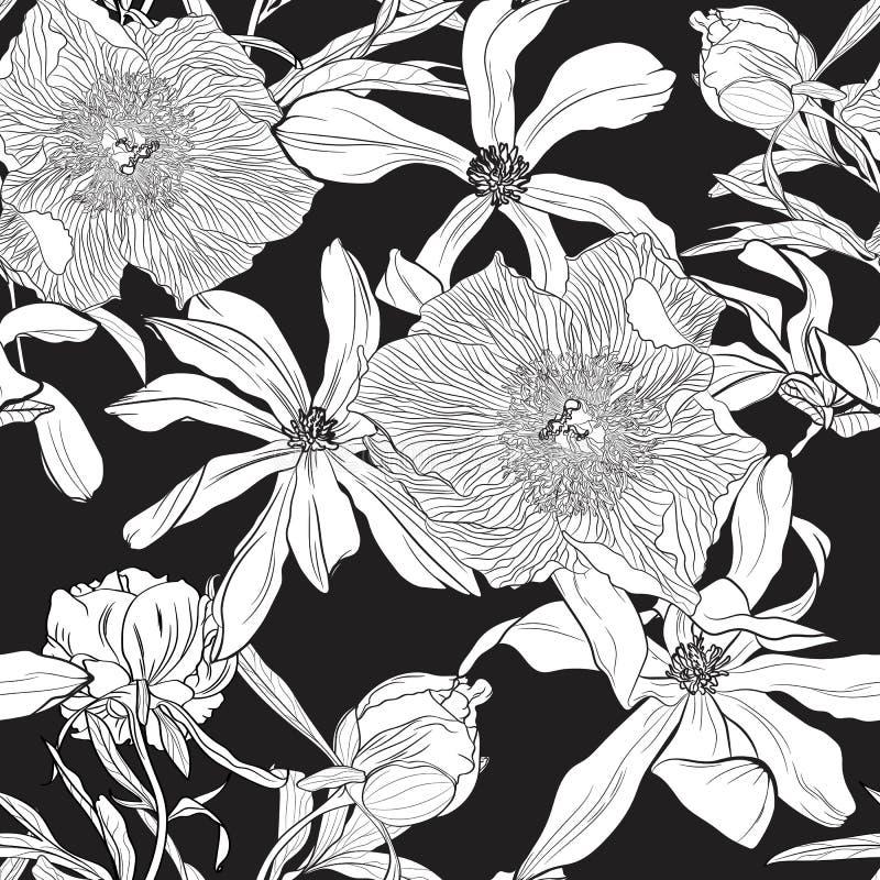 Het naadloze bloemenpatroon met beeld van een magnolia en een pioen bloeit op een zwarte achtergrond stock illustratie