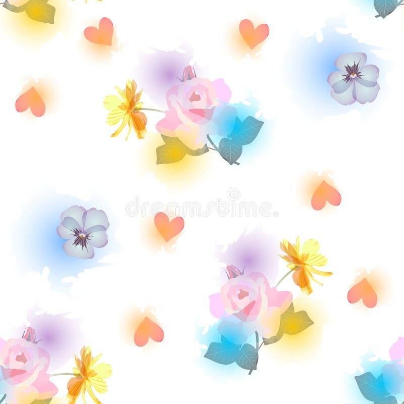 Het naadloze bloemenpatroon met pansies, lichtrose rozen en kosmos bloeit, harten en waterverfvlekken op witte achtergrond af:dru stock illustratie