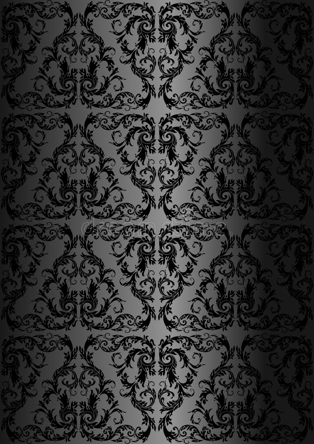 Het naadloze bloemenpatroon van het damast Koninklijk behang Zwarte tracery op een zwarte achtergrond royalty-vrije illustratie