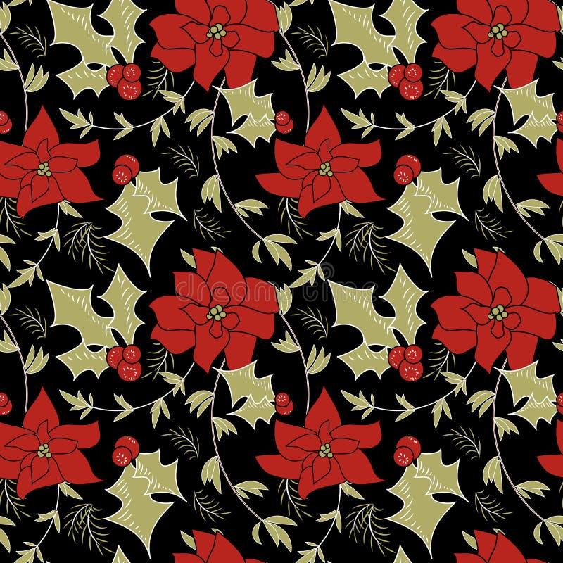 Het naadloze bloemenpatroon van Kerstmispoinsettia stock illustratie
