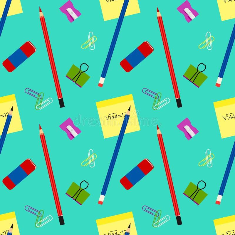 Het naadloze bureau of school vectorpatroon van kantoorbehoeftenhulpmiddelen stock illustratie