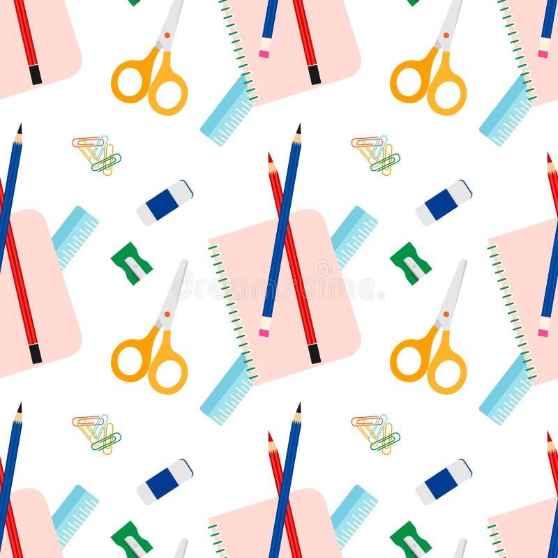Het naadloze bureau of school vectorpatroon van kantoorbehoeftenhulpmiddelen vector illustratie