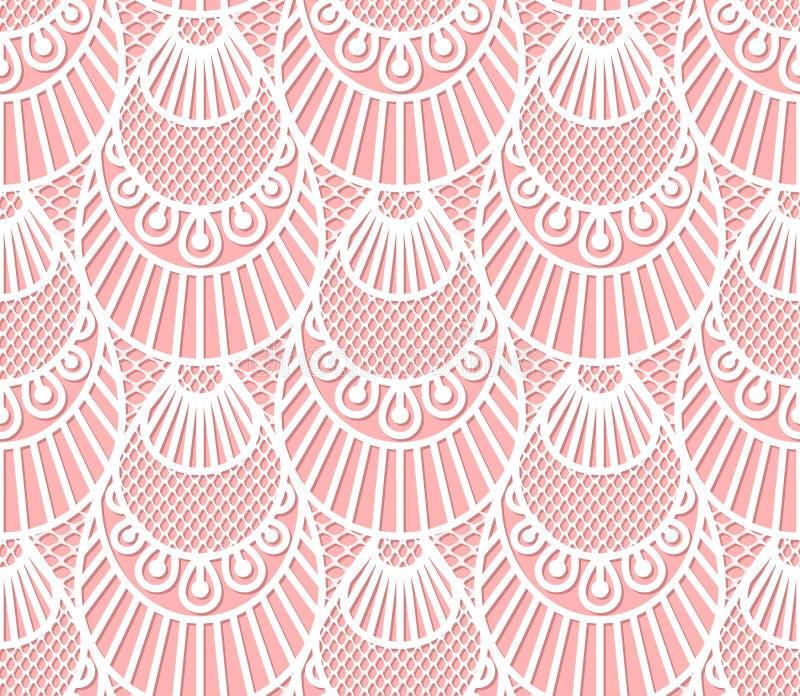 Het naadloze decoratieve patroon van kantschalen royalty-vrije illustratie