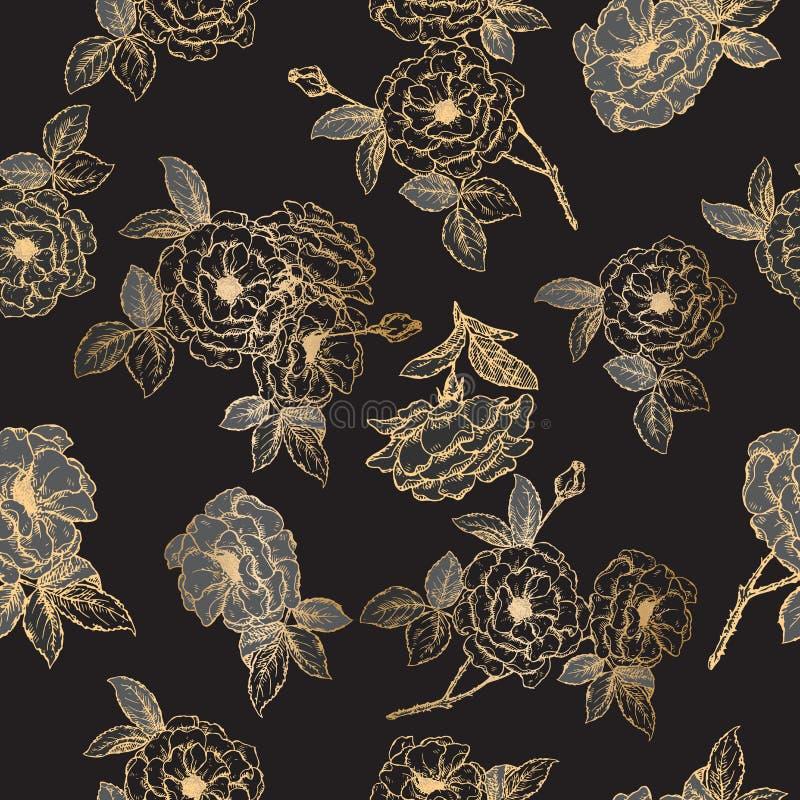 Het naadloze die patroon op zwart en gouden Damast wordt gebaseerd nam schets toe vector illustratie