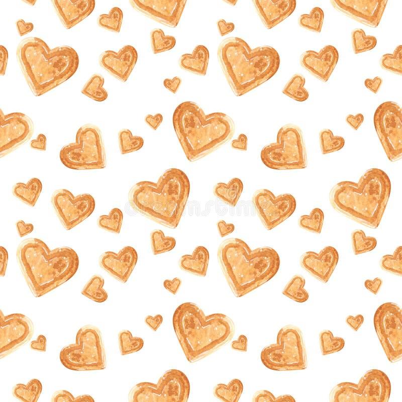 Het naadloze die patroon, van liefje wordt gemaakt vormde koekjes, de hand getrokken illustratie van de voedselwaterverf vector illustratie