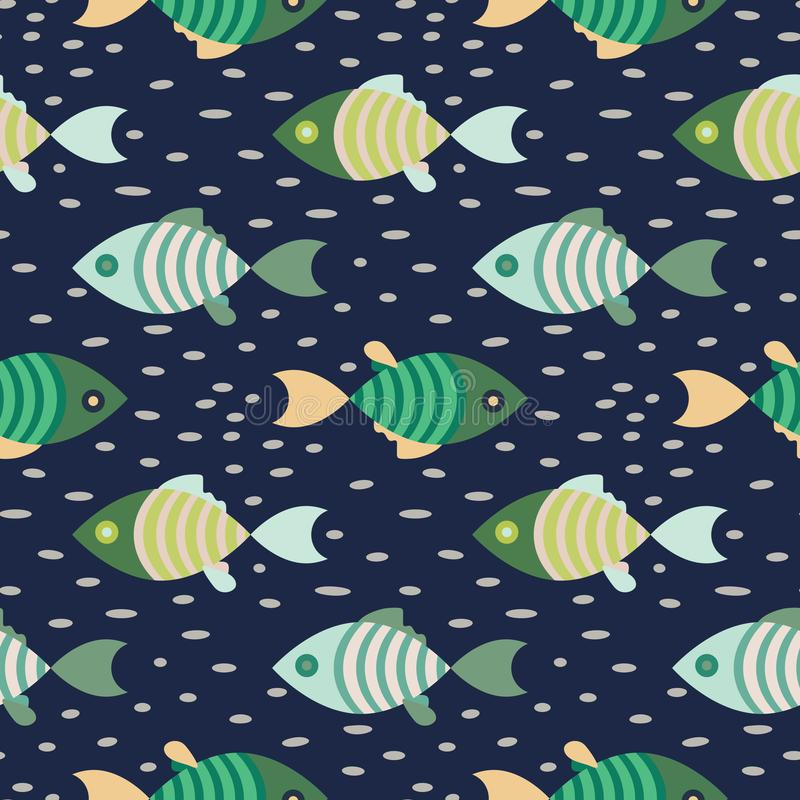 Het naadloze donkerblauw en groene vissen mariene patroon herhaalt achtergrond vector illustratie