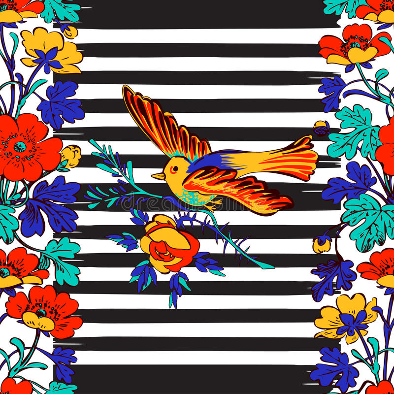 Het naadloze exotische vogel vliegen en botanisch grenskader met trop vector illustratie