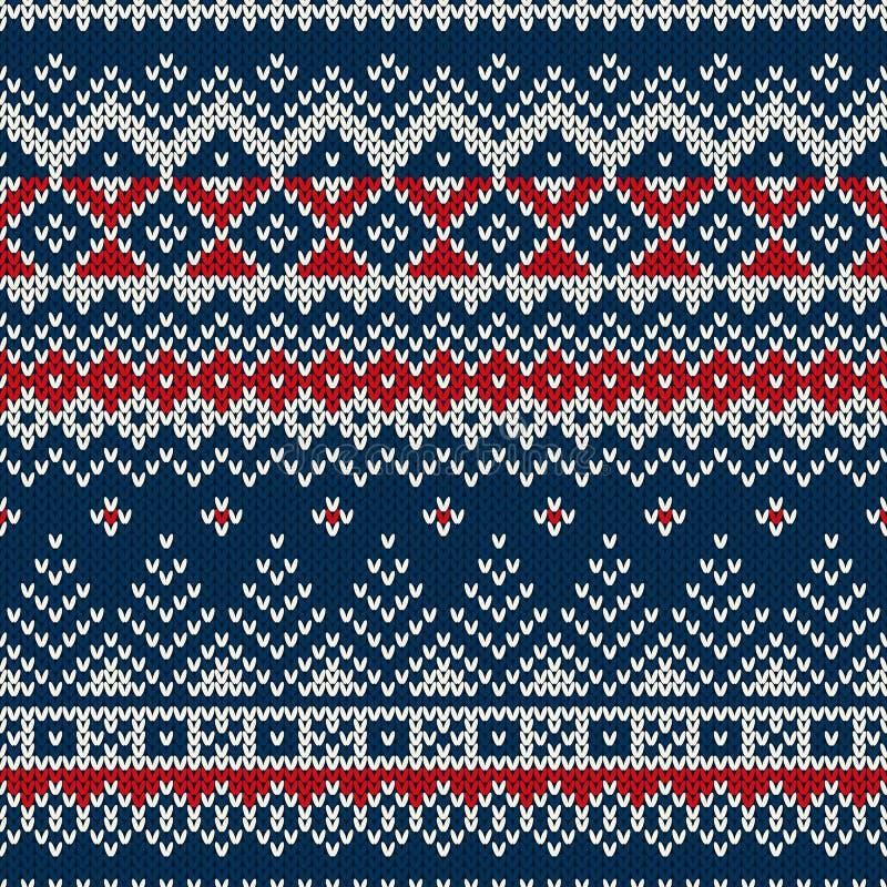 Het Naadloze Gebreide Patroon van de de wintervakantie stock illustratie