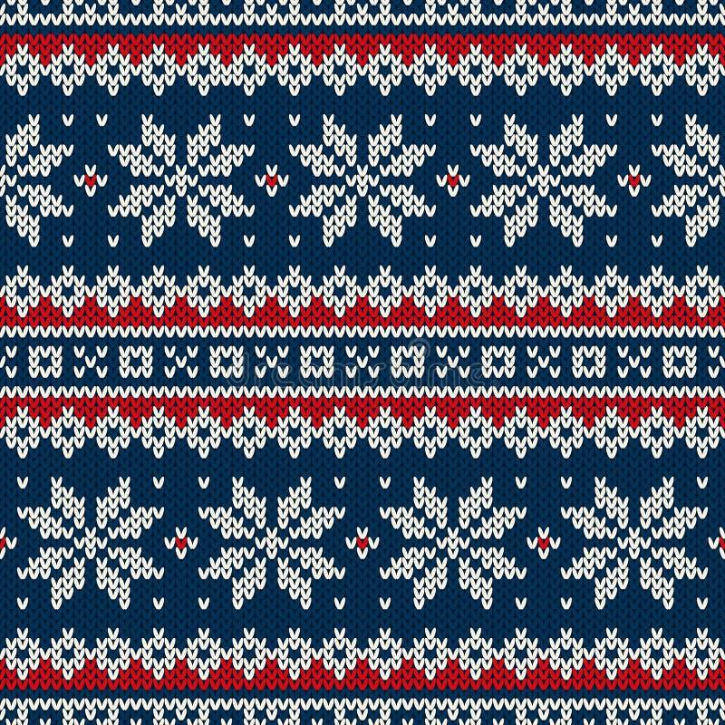 Het Naadloze Gebreide Patroon van de de wintervakantie vector illustratie