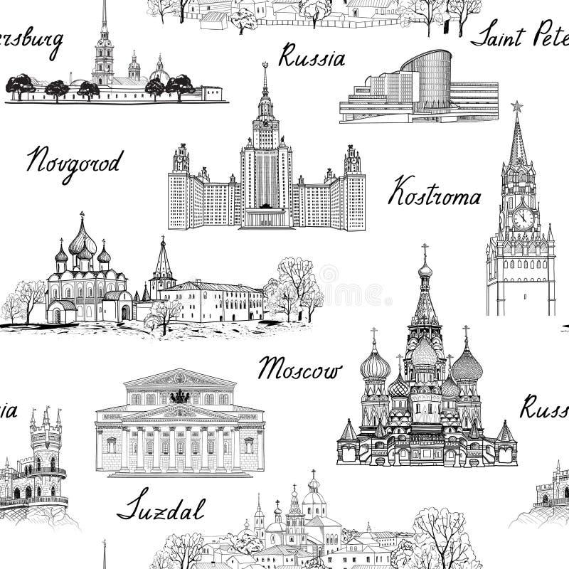 Het naadloze gegraveerde architecturale patroon van reisrusland Beroemde Ru vector illustratie