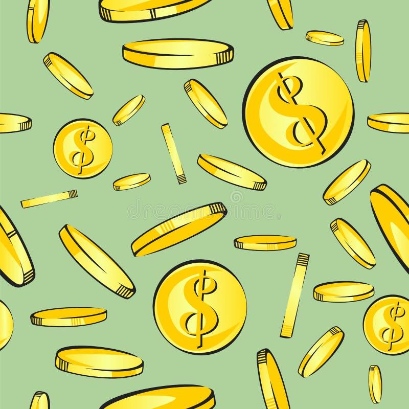Het naadloze geldpatroon, gouden muntstukken met dollar ondertekent daling, vectorillustratie royalty-vrije illustratie