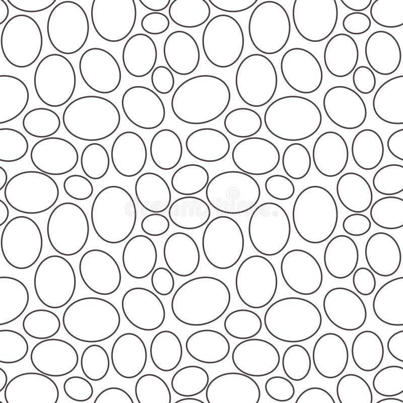 Het naadloze geometrische patroon, overzicht van eieren op witte achtergrond, strepen vat malplaatje, vectorillustratie samen stock illustratie