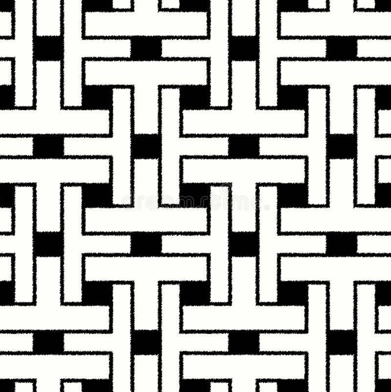 Het naadloze geometrische patroon van het gekrabbelnetwerk stock illustratie
