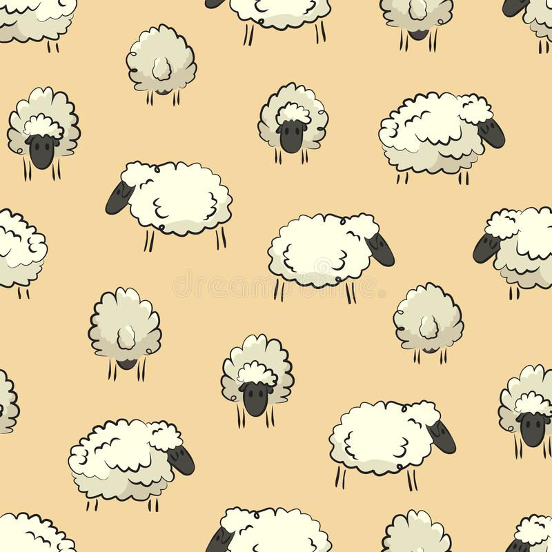 Het naadloze gestileerde kleurrijke element van de het patroontextuur van de schapenkudde op gele achtergrond stock illustratie