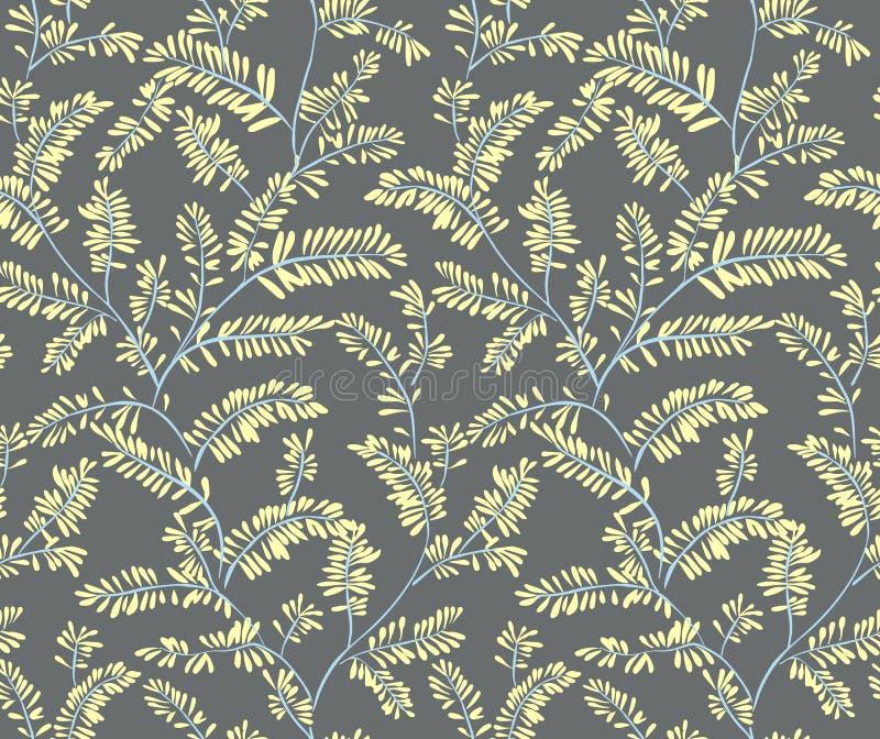 Het naadloze gestileerde patroon van de bladvaren Vector illustratie De krabbel backgrounded Naadloze vectorachtergrond stock illustratie
