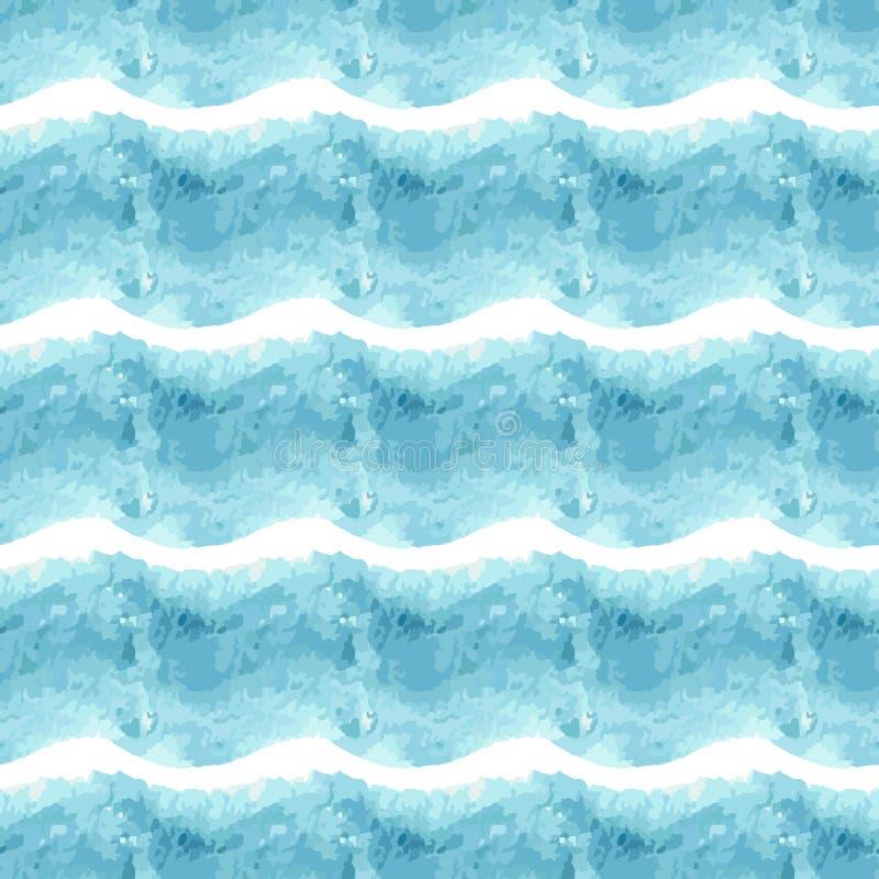 Het naadloze gestreepte patroon van de waterverf blauwe kleur vector illustratie