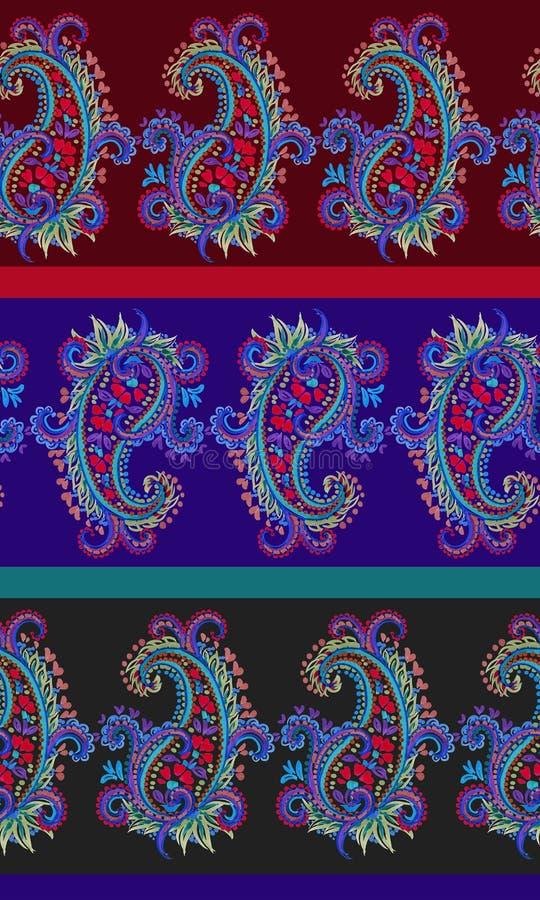 Het naadloze gestreepte patroon van Paisley stock illustratie