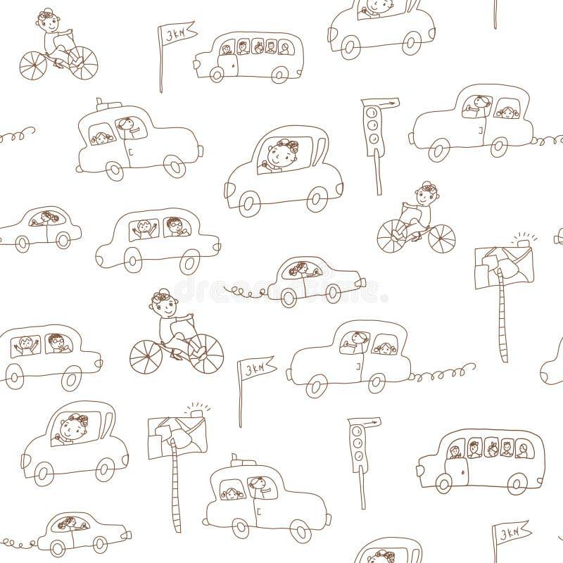 Het naadloze patroon van jonge geitjes en van auto's royalty-vrije illustratie