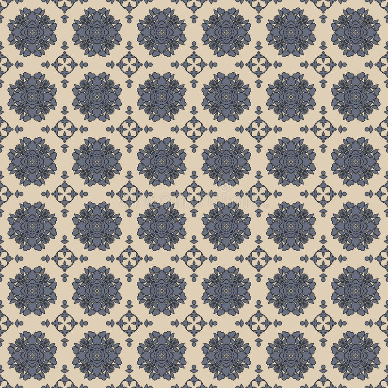 Het naadloze Grijze & Blauwe Patroon van het Damastbehang royalty-vrije illustratie