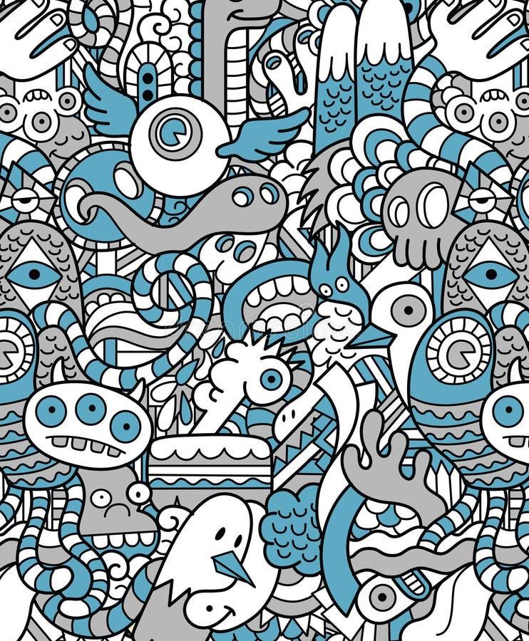 Het naadloze Hipster-Patroon van het Krabbelmonster vector illustratie