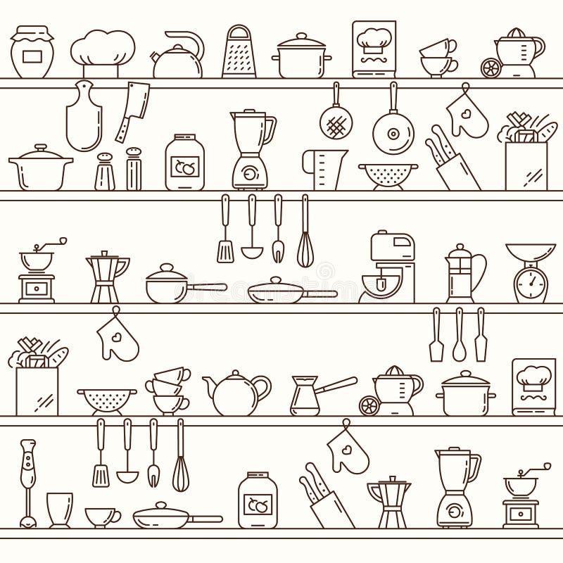 Het naadloze horizontale patroon met keuken schort hoogtepunt van diverse keukenpunten en hulpmiddelen op stock illustratie