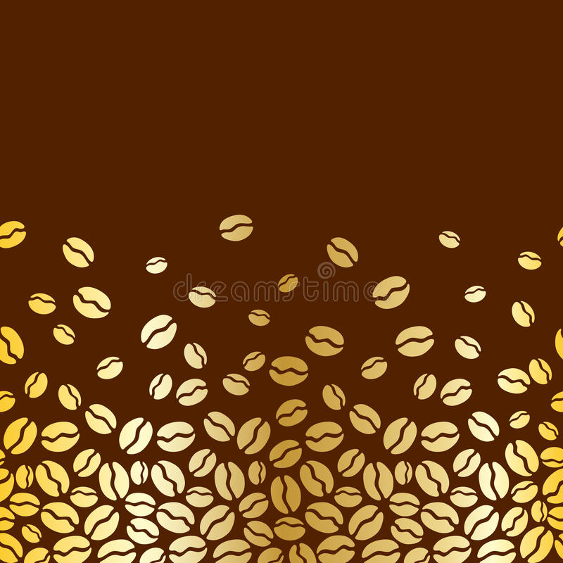 Het naadloze horizontale patroon van koffiebonen stock illustratie