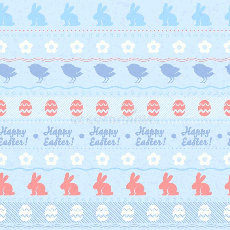 Het naadloze horizontale patroon van Pasen - blauwe kleur stock illustratie