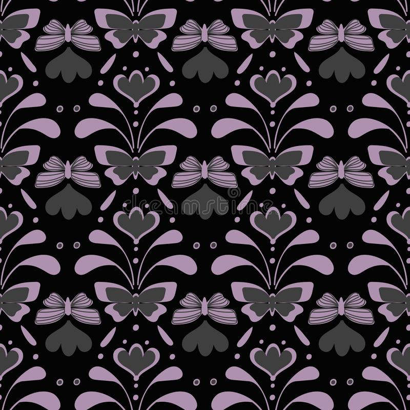 Het naadloze humeurige vectorpatroon van het vintegedamast met vlinders en bloemen royalty-vrije illustratie