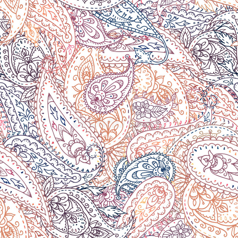 Het naadloze kleurrijke Indische bloemenpatroon van Paisley royalty-vrije illustratie
