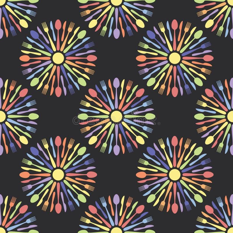 Het naadloze Kleurrijke Patroon van het Keukenbestek stock illustratie