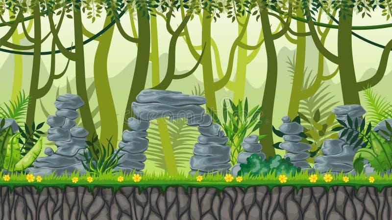 Het naadloze landschap van de aardwildernis stock illustratie