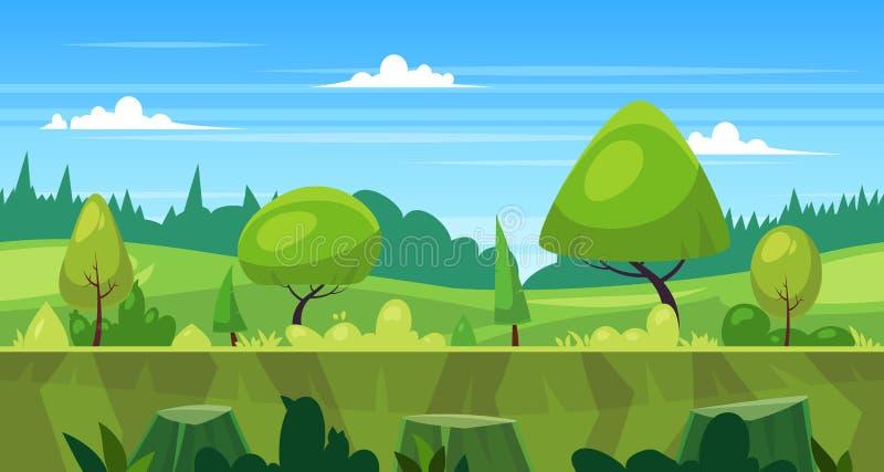 Het naadloze landschap van de beeldverhaalaard met bomen royalty-vrije illustratie
