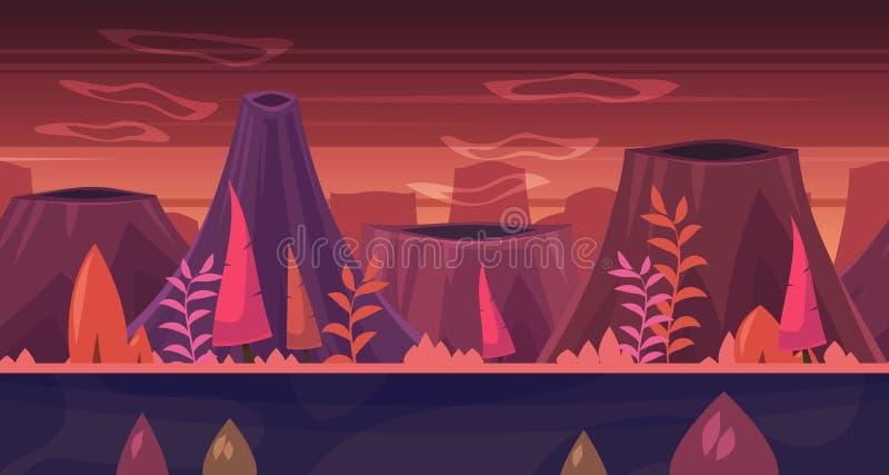 Het naadloze landschap van de beeldverhaalaard met bomen en bergen stock illustratie