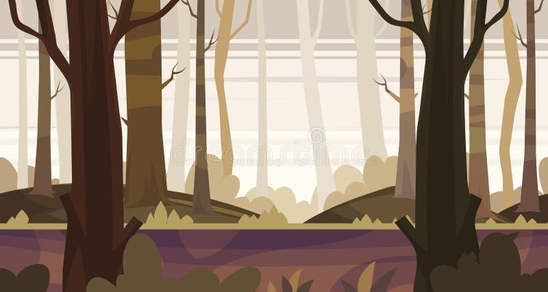 Het naadloze landschap van de beeldverhaalaard met bos vector illustratie