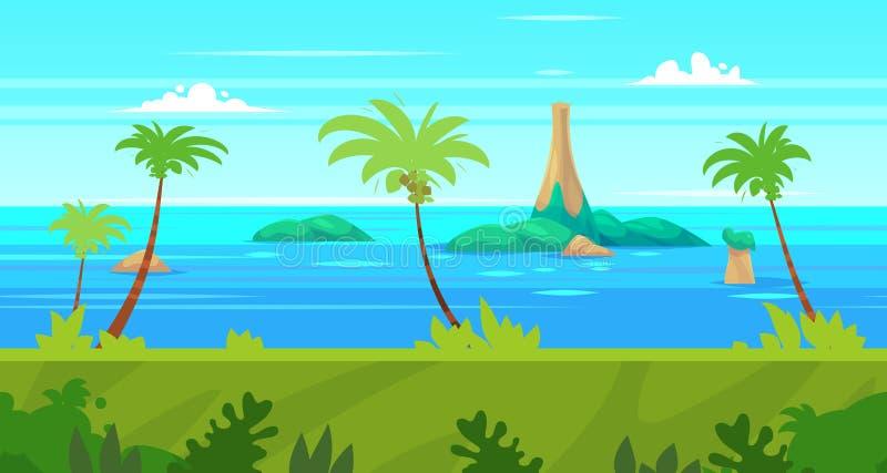 Het naadloze landschap van de beeldverhaalaard met overzees en palm vector illustratie