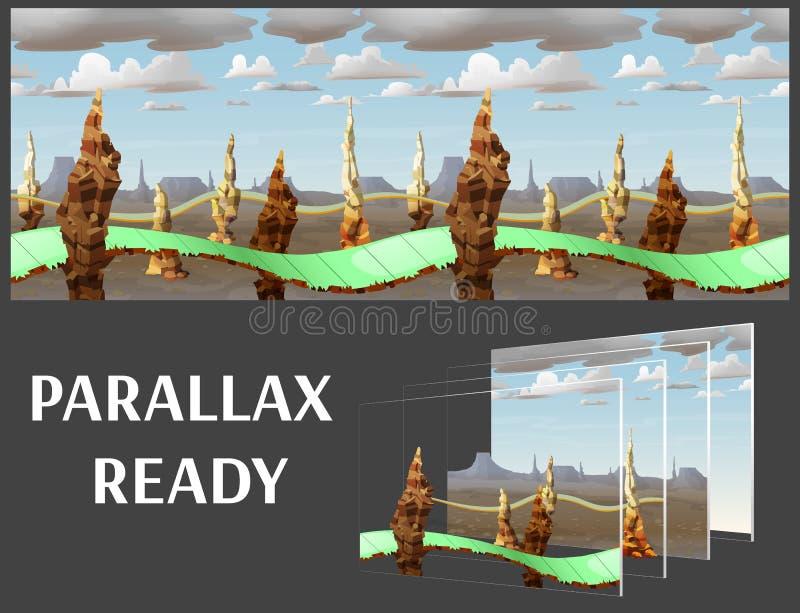 Het naadloze landschap van de beeldverhaalaard, vector oneindige achtergrond met gescheiden lagen stock illustratie