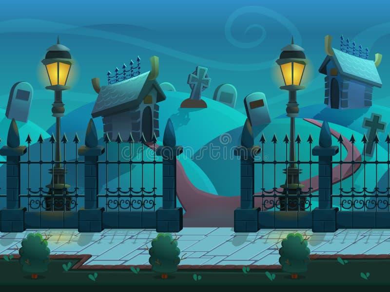 Het naadloze landschap van de beeldverhaalnacht, met graven en crypten, vector oneindige achtergrond met gescheiden lagen stock illustratie