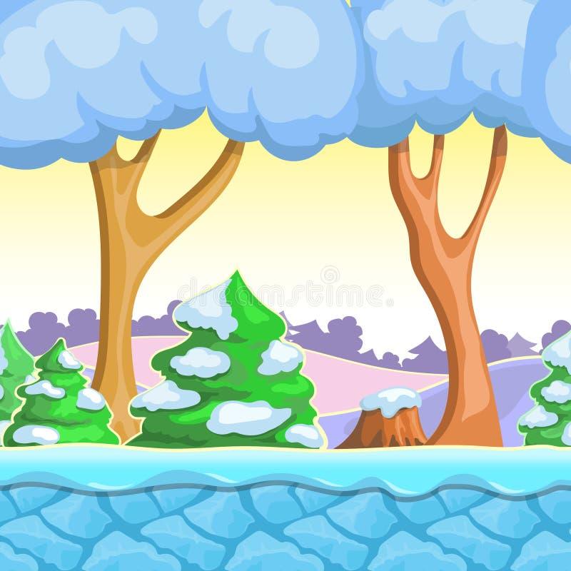 Het naadloze landschap van de beeldverhaalwinter, vector met sneeuwbomen, bergen, ijs en hemellagen stock illustratie