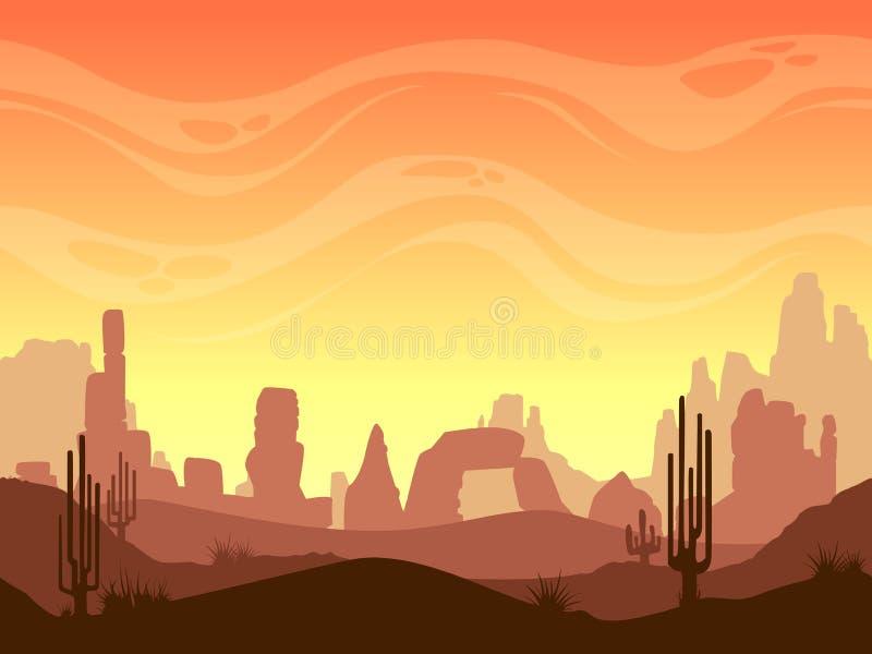 Het naadloze landschap van de beeldverhaalwoestijn vector illustratie