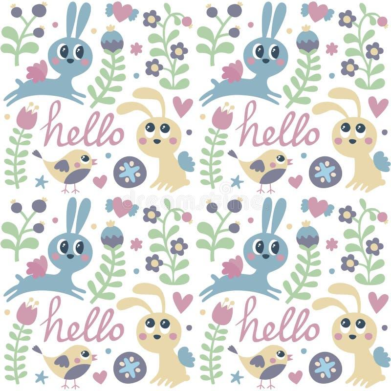 Het naadloze leuke patroon maakte met konijn, hazen, vogel, bloemen, dieren, planten, harten, liefde, hello, bes, Valentine stock illustratie
