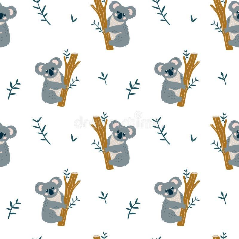 Het naadloze moderne kinderachtige patroon met leuke КР¾ аlа draagt stock illustratie