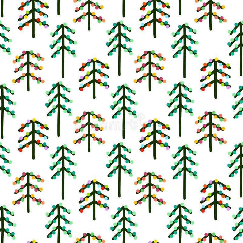 Het naadloze nieuwe patroon van de jaarboom in minimalistic stijl stock illustratie
