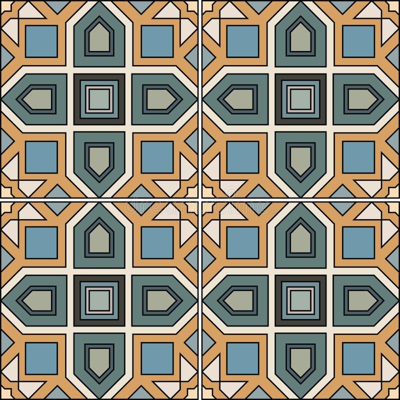 Het naadloze ontwerp van de patroon retro keramische tegel met bloemen overladen vector illustratie