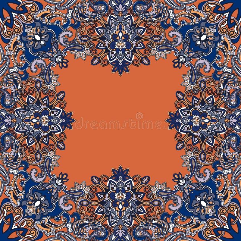 Het naadloze oosterse patroon van Paisley met tendenskleuren stock illustratie