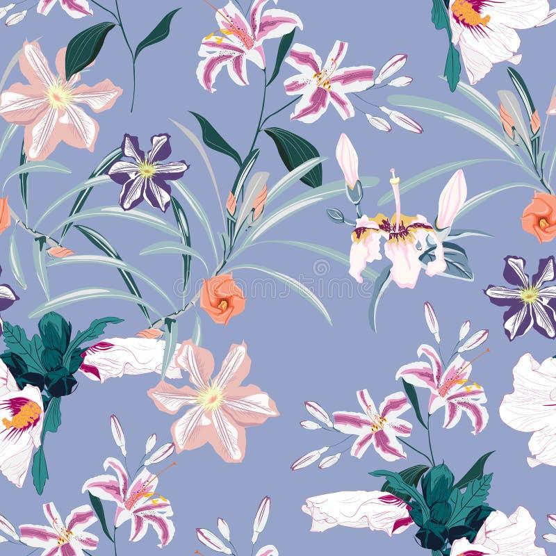 Het naadloze patroon, de lichte uitstekende kleurenpalmbladen en de roze lelies, de clematis en de exotische tropische paradijshi royalty-vrije illustratie