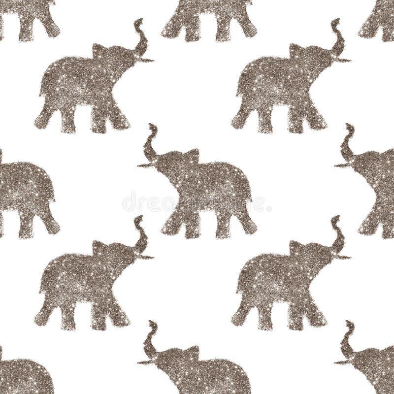 Het naadloze patroon met aardige abstracte olifanten van schittert Hun boomstammen hieven omhoog op - goed geluksymbool royalty-vrije stock fotografie